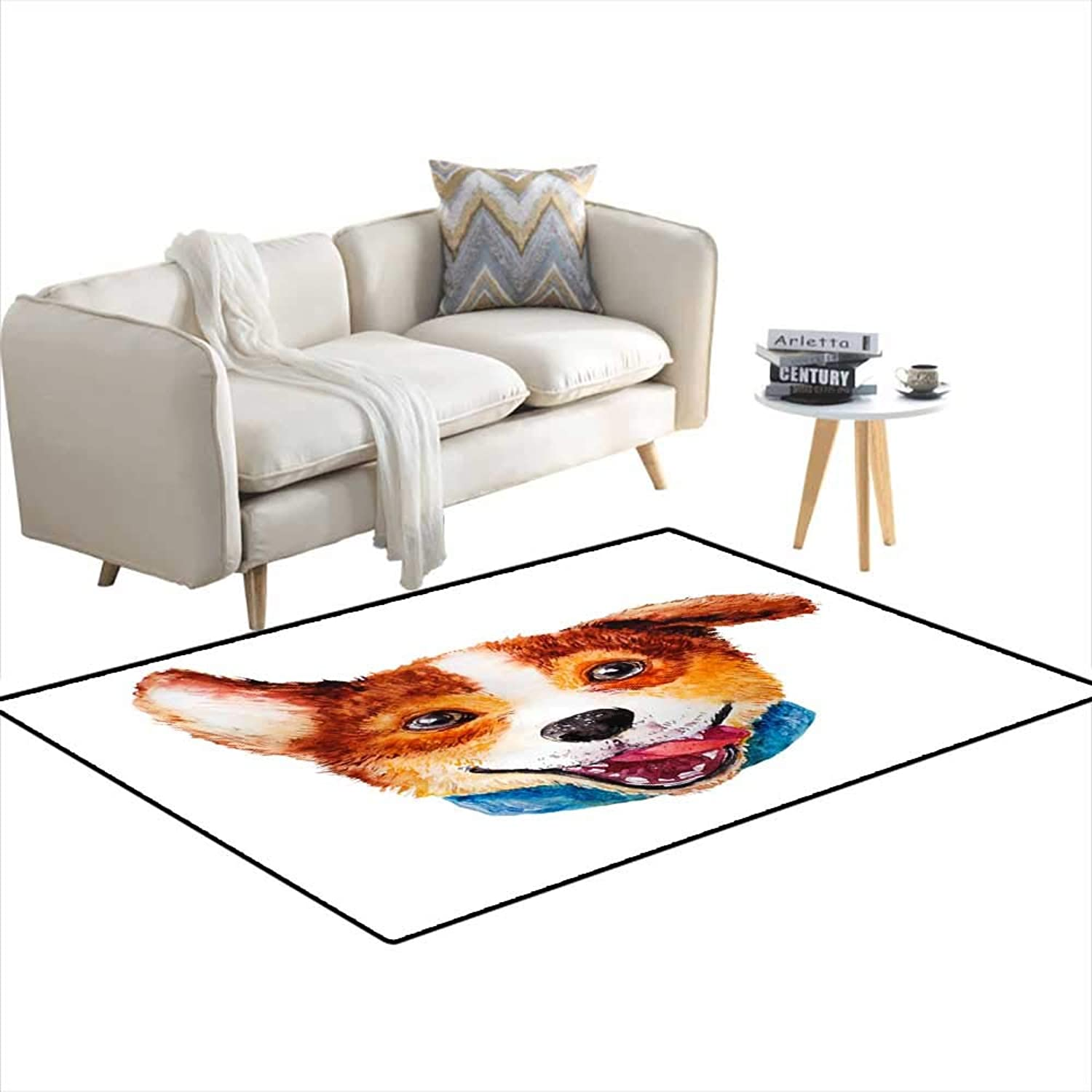 Extra Large Area Rug Watercolor Artistic Corgi Dog Portrait isolateon White backgrounCute pet Animal heahandrawn Corgi Puppy New Year Symbol 3'x19'