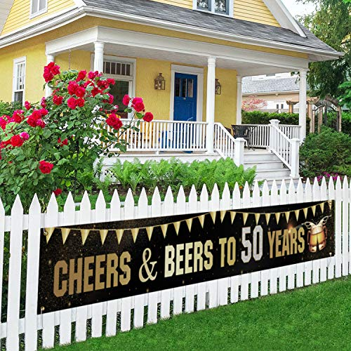 Cheers &Beers to 50 Years Banner, Happy 50th Lawn Sign, 50th Birthday Wedding Anniversary Party Porch Sign, Indoor Outdoor Backdrop 9.8 X 1.6 Feet
