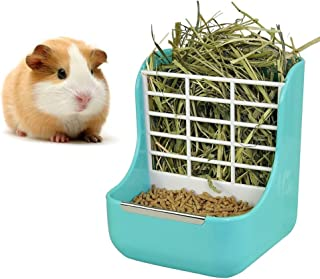 sxbest 2 in 1 Food Hay Feeder for Guinea Pig,Rabbit,Indoor Hay Feeder for Guinea Pig,Rabbit, Chinchilla,Feeder Bowls Use for Grass & Food