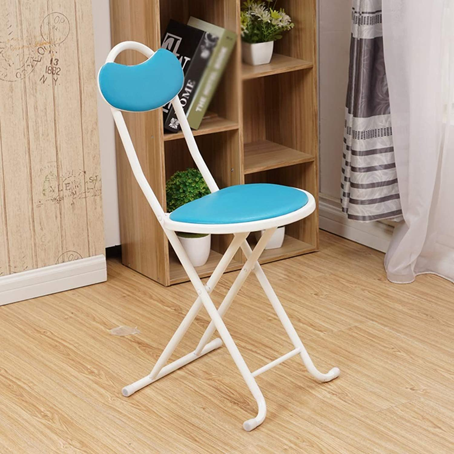 Living Room Folding Chair, Metal Non-Slip Wear Resistant Folding Chairs A Fast Food Shop Convenience Store Folding Chair (color   bluee)