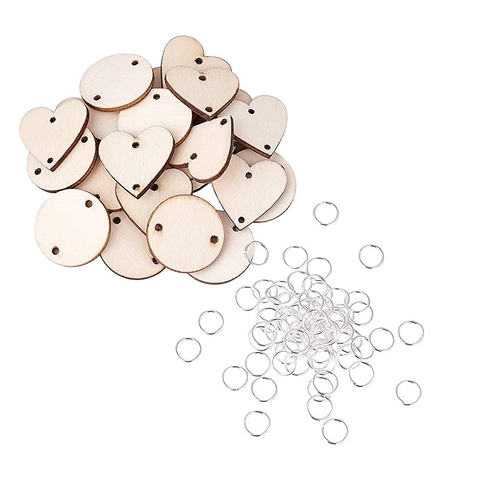 Kissitty 200Pcs Unfinished Blank Round Wooden Circles Discs Heart Wood Tag Links 2 Holes with 10mm Silver Open Jump Rings