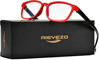 AIEYEZO Kids Blue Light Blocking Glasses Silicone Flexible Square Eyeglasses Frame with Glasses Rope, for Children Age 3-10