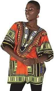 Camisa/camiseta de Dashiki con estampado africano, unisex, color naranja, talla mediana a 3XL, para festivales tribales y ...