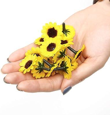 50 flores artificiales de seda de 2,5 cm para decoración de boda hechas a mano