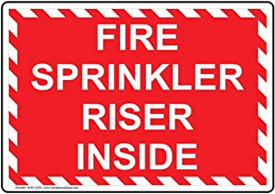 Fire Sprinkler Riser Inside Label Decal, 7x5 inch Vinyl for Fire Safety/Equipment by ComplianceSigns