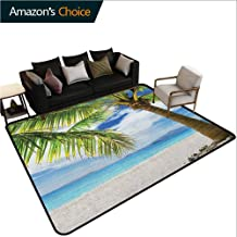 Lonely Palm Tree Home Bedroom Carpet Floor Mat, Sandy Beach Isolated Philippines Hot Sunny Travel Destination, Easy Maintenance Area Rug Living Room Bedroom Carpet(4'x 6') Green Coconut Blue