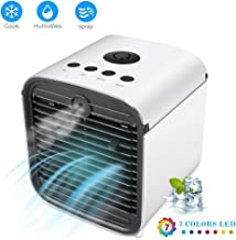 Onewell 2019 Portable Air Conditioner Fan,4 in1 Personal Mini Arctic Evaporative Air Cooler Desktop Cooling Fan with 7 Colors LED Backlight,Humidifier Zen Air Circulator Cooler for Home/Office/Bedroom
