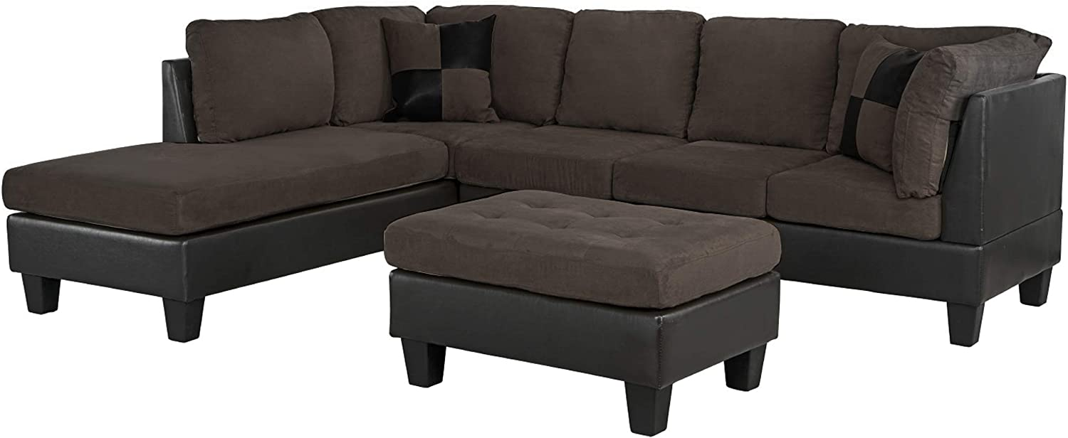 Casa Andrea Milano llc Modern Microfiber and Faux Leather Sectional Sofa and Ottoman Set, Chocolate