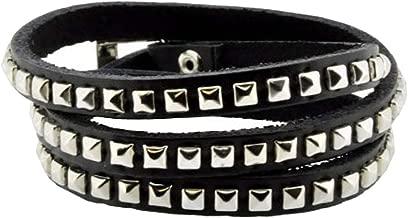 Hinky Imports Leather Silver Tone Metal Stud Simple Elegant Wrap Around Bracelet (Black)