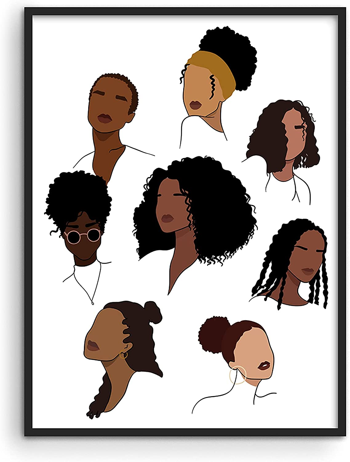 Haus and Hues Black Girl Wall Art & Hair Posters for Women - Black Women Art & African American Posters for Wall | Black Woman Wall Art & African Art Pictures Hairstyle Collage UNFRAMED 12x16
