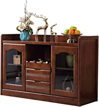 Home Equipment Sideboard Solid Wood Tea Cabinet Chinese Style Living Room Dining Room Small Apartment Tea Cabinet Wine Cab...