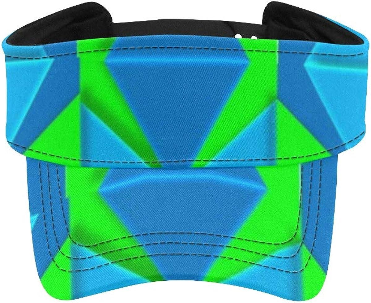 Women Sun Hat Visor Geometric 3D Aqua Lime Green Shapes Design Fishing Visor Cap Sports Sun Visor Adjustable Athletic Sportswear Runing Outdoor Hat Cap for Men Women
