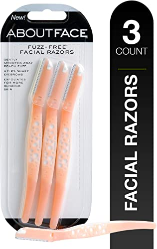 Kai About Face Fuzz-Free Facial Beauty Groomer (3 per Package); Precision Disposable Razor Smooths Away Peach Fuzz, S...