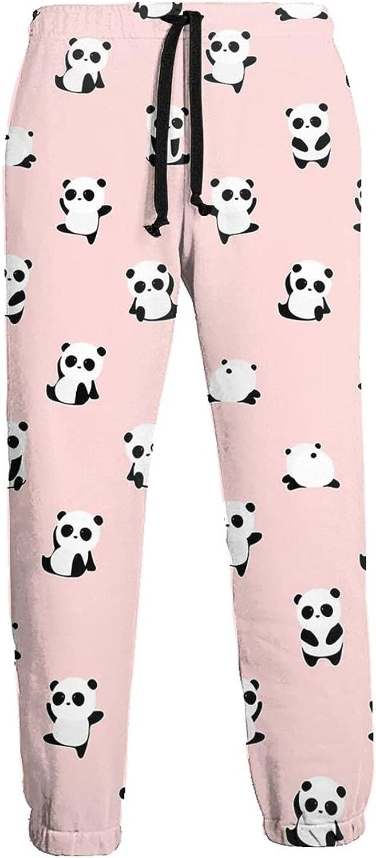 Men's Jogger Sweatpants Cute Pandas 3D Loose Joggers Pants with Drawstring Long Pants