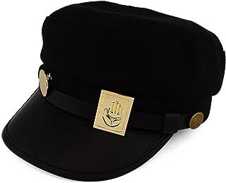 CrazyCatCos Kujo Jotaro Hat JoJo's Bizarre Adventure Cosplay Metal Badge Cap Black