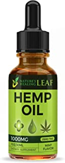 Hemp Oil Extract Drops 1000 MG for Pain Relief, Sleep Aid, Anxiety Relief, Stress Relief That's 100% Pure Natural Non-GMO CO2 Extracted