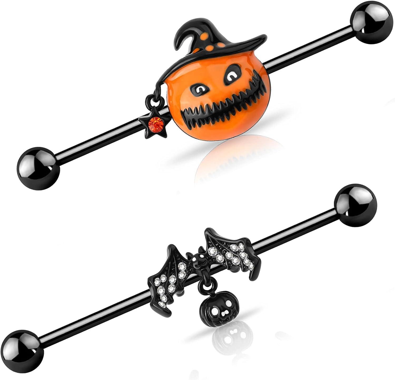 OUFER 2PCS 14G Halloween Industrial Piercing Jewelry Set Black Bat Pumpkin Surgical Steel Cartilage Earring Industrial Earrings for Women