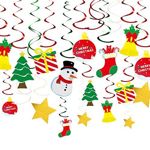 KUUQA 34 stuks Kerstmis hangende swirl decoraties kit plafond Swirl Decoratie kerstboom sneeuwpop sokken geschenkdoos Pentagram voor kerstfeest Decoratie