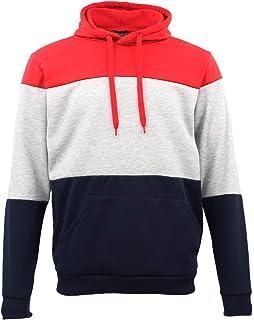 Zmart Mens Unisex Fleece Pullover Hoodie Colour Block Hooded Sweatshirts Jacket Jumper