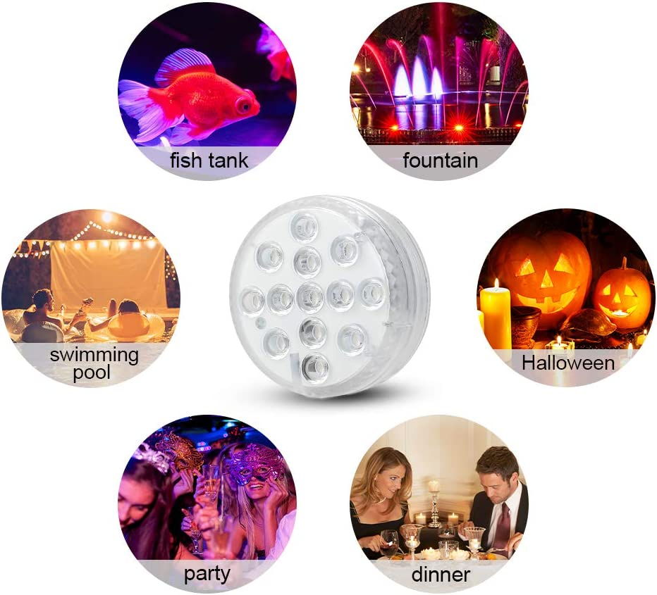 Bath Spa Lights Waterproof Pond Lights with RF Remote Control Bright 13 LEDs Submersible LED Lights for Pond Swimming Pool Garden Home Decor Festival Decor Hot Tub Lights Pool Lights Underwater