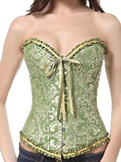 Womens Corset Overbust Waist Cincher Bustier Top Floral Lace Trim Bodyshaper