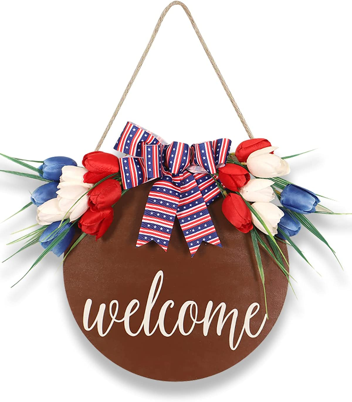 Halafs Welcome Sign for Front Door Decor, Wooden Handmade Front Door Sign, Front Porch Decor, Patriotic Sign for Front Door Outside, Christmas, Easter, Independence Day Welcome Decoration Ornaments