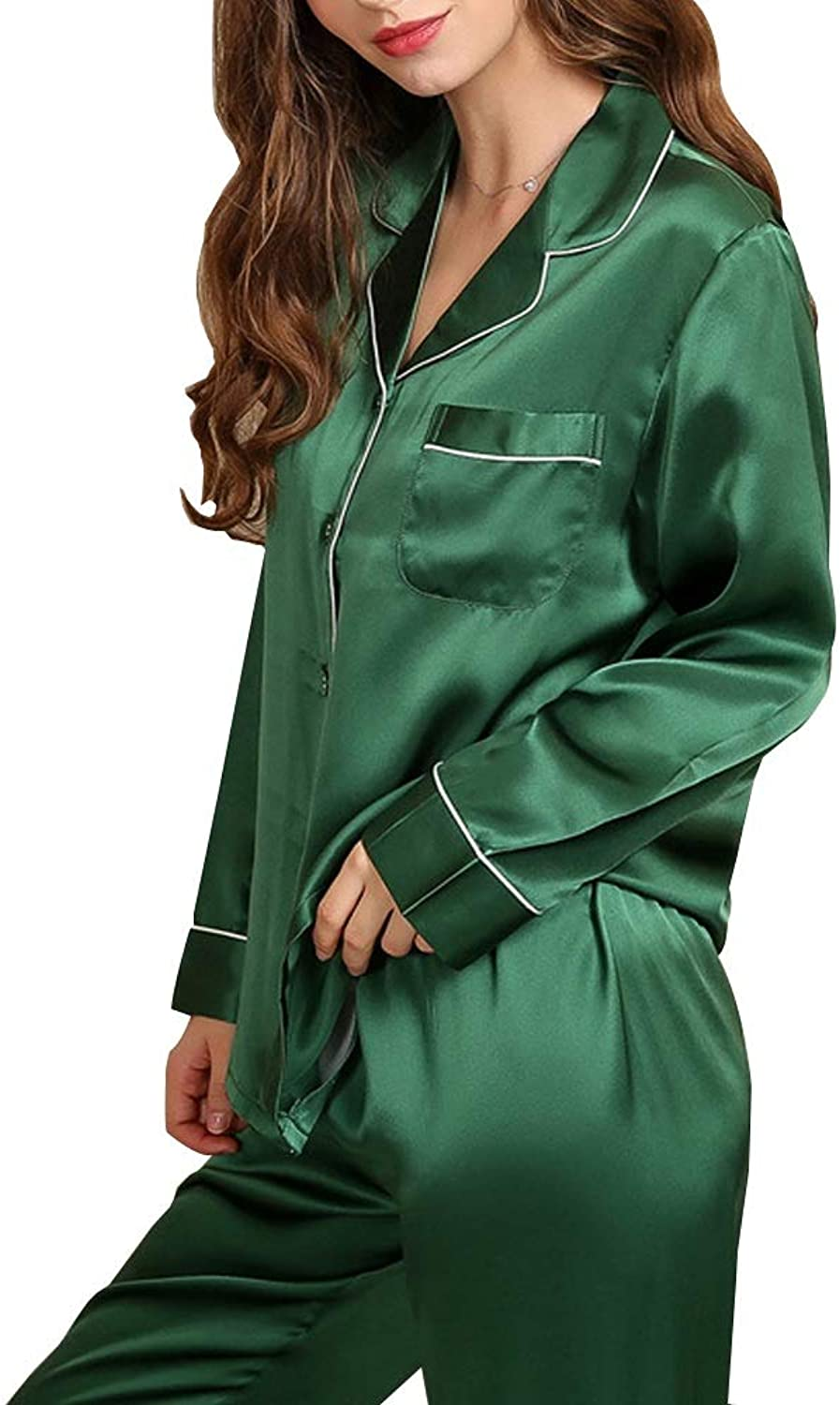 Pajamas Set 100% Mulberry Silk Fabric Green Lapel Ladies Sexy Pajamas Casual Home Service (color   Green, Size   L)