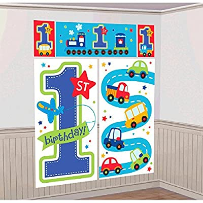 """""""All Aboard Boy"""" Scene Setters Wall Decorating Kit, Birthday from Amscan"""