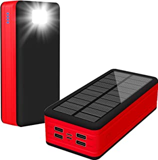 Solar Power Bank 50000Mah Type C Solar Charger, High Capacity Portable Charger, Outputs 5V/2.1A External Battery with 2 In...