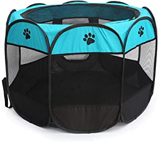 Longkins Octagonal Pet Dog and Cat House, Portable Kennel Puppy Bed House Foldable Pet Tent Fence, Indoor and Outdoor Use,...