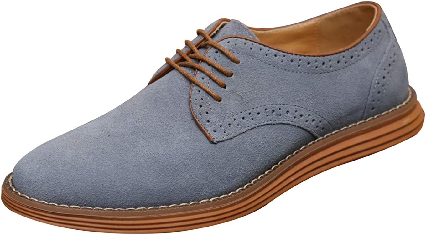 Moodeng Men`s Classic Suede Oxford Shoes Summer Causal Walking Dress Shoes Non-Slip Lace Up Fashion Sneaker