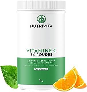 Vitamina C Pura en Polvo 1 kg | 100% Ácido L-Ascórbico | Polvo Ultra Fino | Mejora el Sistema Inmunológico | Envasado en Francia | Cuchara Dosificadora Incluida | Nutrivita