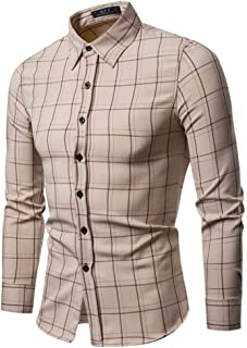 Soft and Close Slim Casual Men's Long-Sleeved Shirt, Men's Fall and Winter Fashion Plaid Button Shirt wl (Color : Khaki, Size : S)