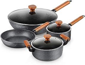 Cooking Pots Pans Soup Pot Frying Pan Milk Pot Wok Saucepan Fry Pan Nonstick Kitchen Universal with Toughened Glass Lid an...