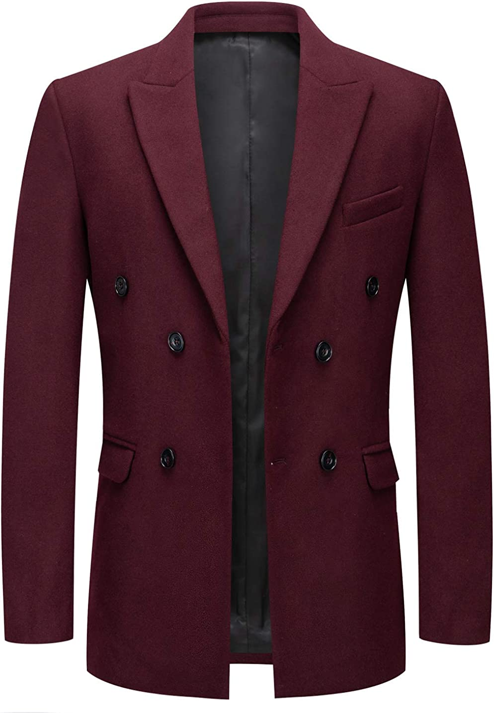 chouyatou Men's Classic Peaked Lapel unisex Collar Double Breasted Washington Mall Slim