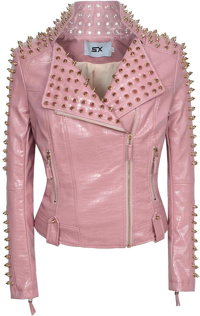 XUJIN Women's Faux Leather Motorcycle Biker Slim Short Jacket (S, Pink)