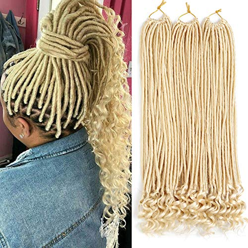 6 Packs Straight Goddess Locs Crochet Hair 20 Inch with Curly Ends Crochet Twist Synthetic Braiding Hair Blonde 613 Faux Locs Crochet Braids Soft Natural Hair Extensions for Women (Blonde)