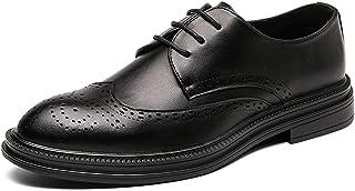 WZQDM Oxfords de los Hombres Zapatos Llano Que bruñido Toe TOTALES TOTALES Tips Consejos DE AUDA 3-Ojo Encaje Encima de la...