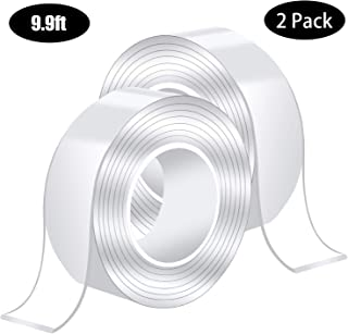 Sally mandy 9.9ft Double Sided Tape Mounting Tape Traceless Washable Removable Strong Adhesive Rug Tape Gripper, Reusable Clear Anti Slip Gel Grip Tape (2 Rolls (L9.9ft,W0.09ft))