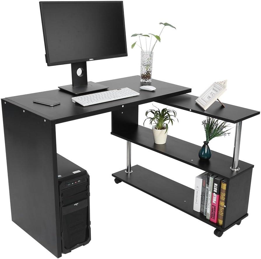 GOTOTOP Oficina Informática con estanterías de Almacenamiento Giratorio 360º Mesa Ordenador de ángulo Coin PC Mueble Mesa de Trabajo para casa y ...