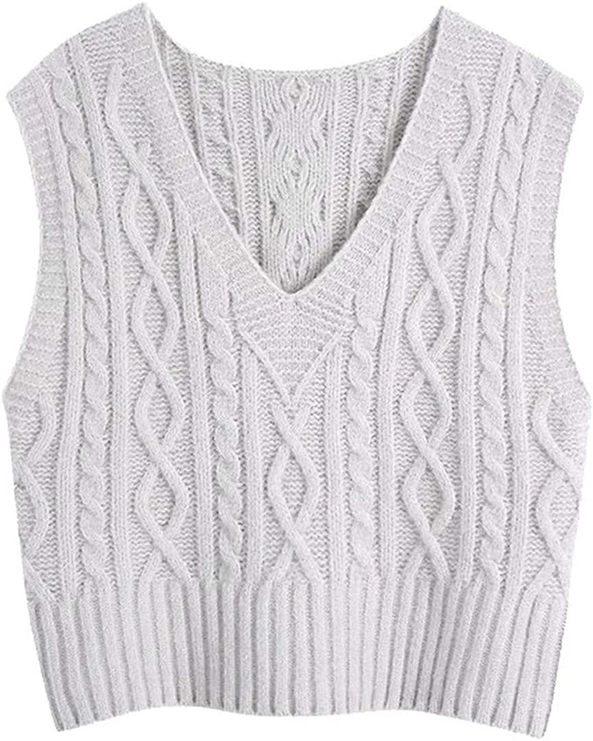 Women Loose Cable-Knit Vest Sweater Vintage V Neck Sleeveless Waistcoat Chic Tops