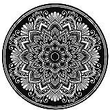 5Ft Mandala Round Rug 60 inch Black and White Circle Rug Circle Rug Soft Room Carpet Non Skid Backing Entrance Decorate Playroom Throw Rugs-Round Mandala Black and White 05