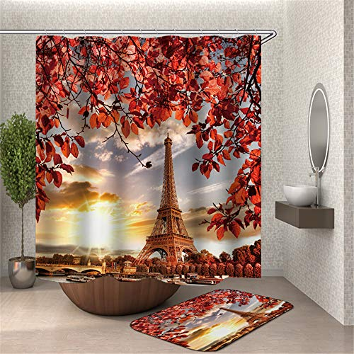 ChickwinCortinadeDuchaImpermeableAntimohoPoliésterCortinadeBañocon12Anillas3DParís Torre Eiffel ImpresiónRomántico DiseñoCortinadeBañeraLavableaMáquina (Rojo,90x180cm)