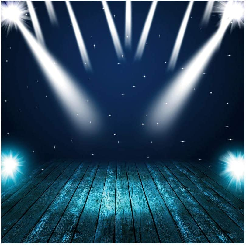 Leowefowa Shabby Chic Stage Backdrop 6.5x6.5ft Vinyl Starry Nightsky Interlaced Spotlights Beams Turquoise Rustic Wood Floor Photography Background Child Adult Portrait Shoot Photo Booth Props