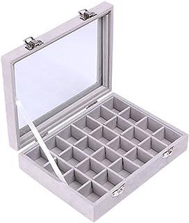 Niome 24 Grids Girls Velvet Glass Jewelry Box Ring Earrings Display Organizer Holder Storage Case Grey