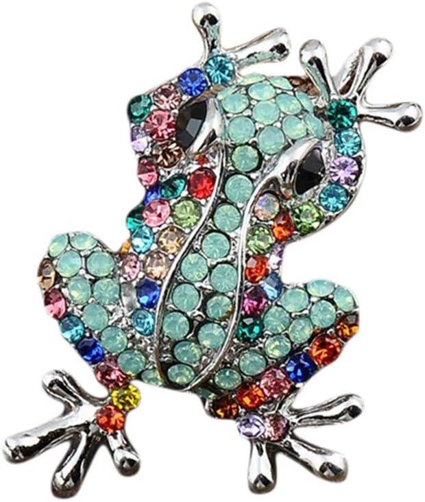 Winwinfly Argent Plaqu/é Strass Color/é Broche Mignonne Grenouille Broche Ch/âle Femmes Bijoux V/êtements Accessoires,Bleu