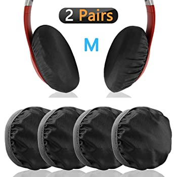 Training Fits 3-4 Over-Ear Headset Earhugz Good for Gym Black, 4 Pairs Stretchable Fabric Headphone Covers Earpad Covers and Washable Sanitary Earcup Protectors
