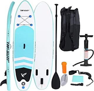 """KANGMOON Inflatable Stand Up Paddle Board SUP Comes with High Pressure Pump with Gauge Adjustable Paddle Big Durable Backpack, 10""""x30""""x6"""" Wakeboards Surfboard Longboards"""