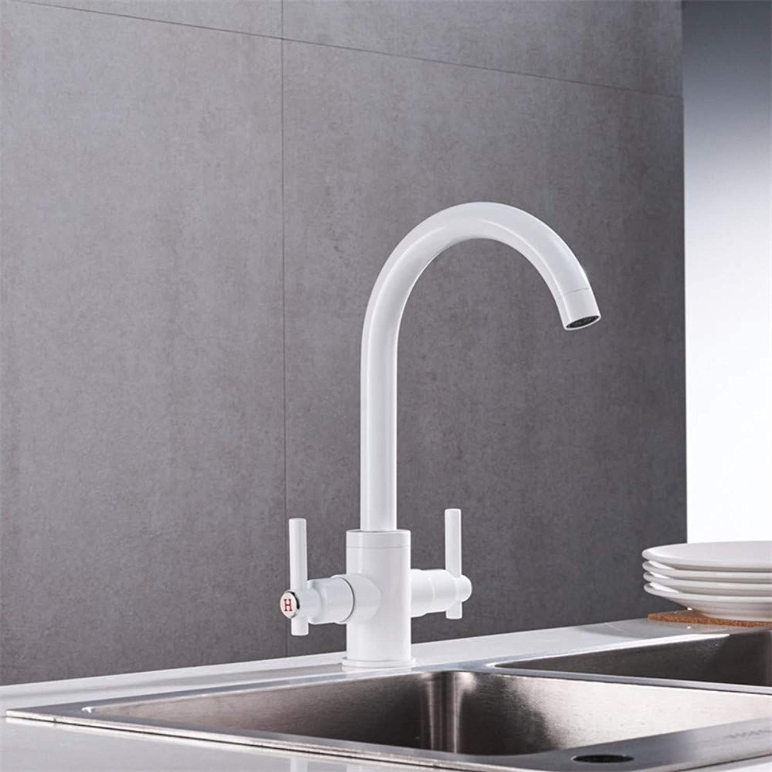 Kitchen Faucets Double Hands Round Bathroom Sinks Wall-in Taps Double Hole Mix Water Tap W005