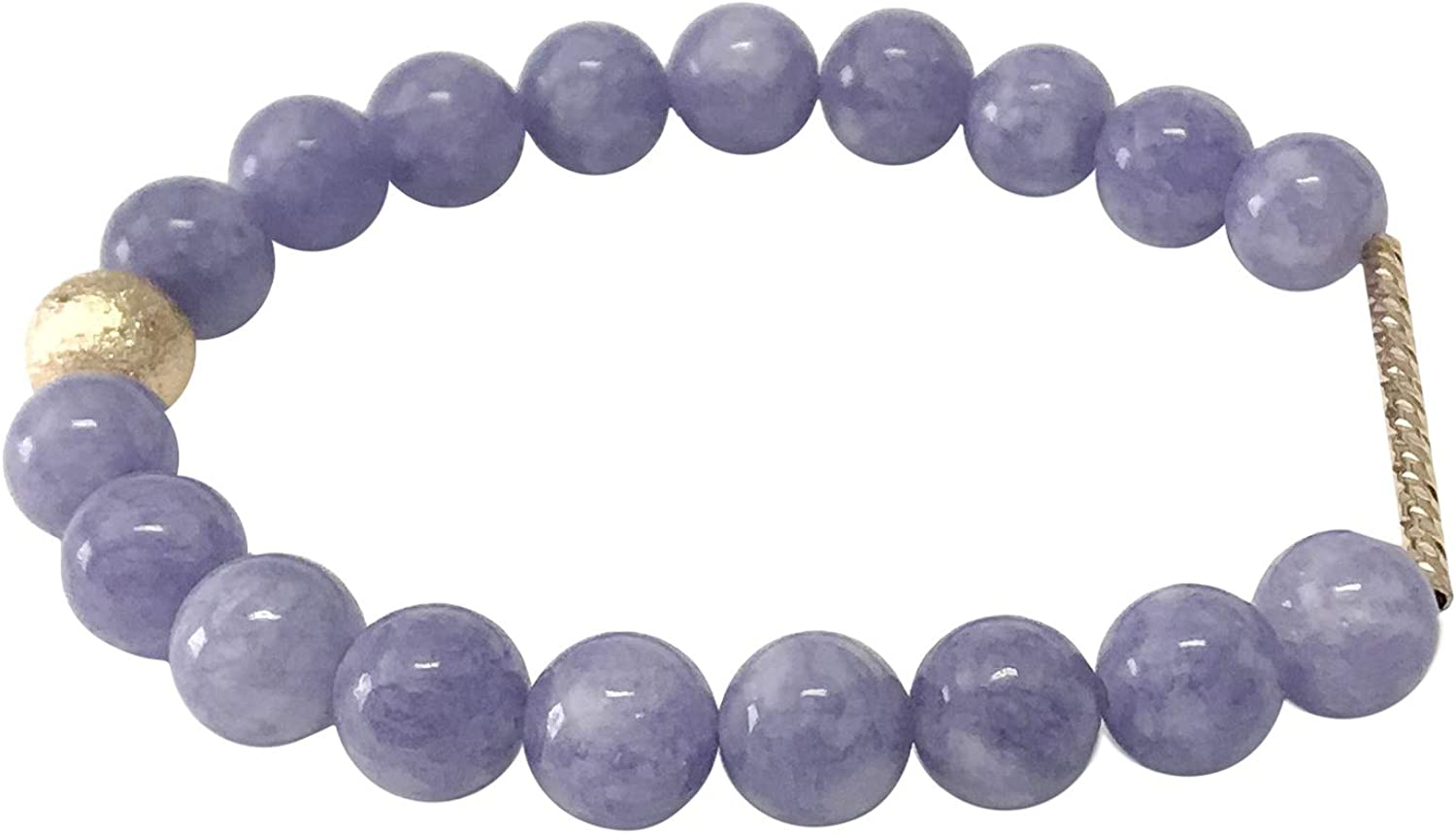Juneau Luxe Women's Natural Semi Precious Gemstone Beaded Stretch Bracelets 8mm Natural Handmade Stone Beads Healing Crystals Chakra Energy Bangle Gold Filled Detail